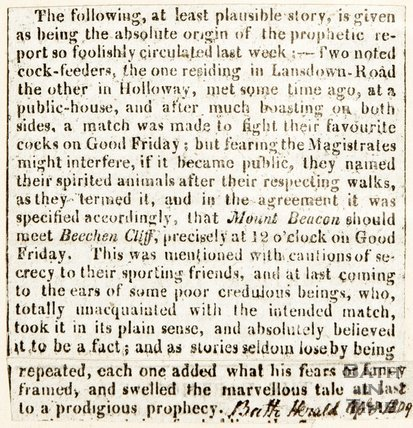 Newspaper article. April 1809. Details the believability of a prediction of earthquake in Bath.