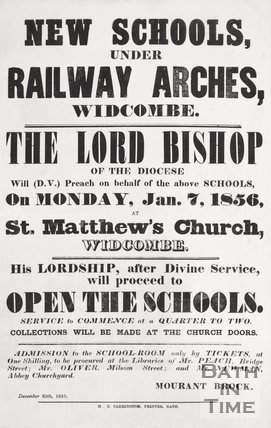 Poster announcing the new infant school at New Widcombe and a service at St Matthews by the Lord Diocese. December 29th 1855.