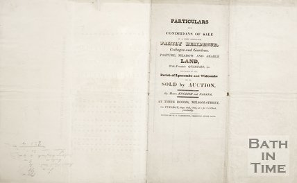 Back of Particulars and conditions of sale of land in the parishes of Lyncombe and Widcombe in auction 1832