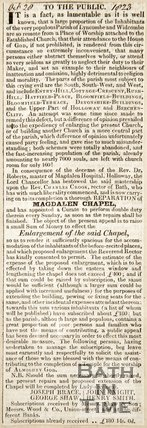 Newspaper article suggesting the Magdalen Chapel is not big enough for the congrigation, 1823.
