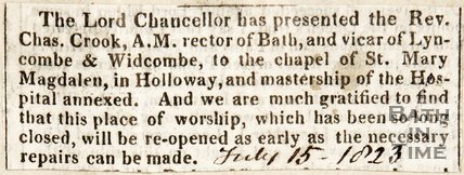 Newspaper article, 1823. A new vicar for St Mary Magdalen, Holloway.