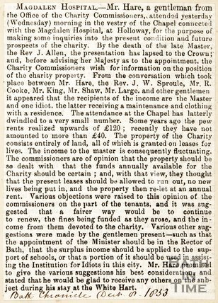 Newspaper article. December 1853. Marks the attendance of the Magdalen Chapel havig gone down.