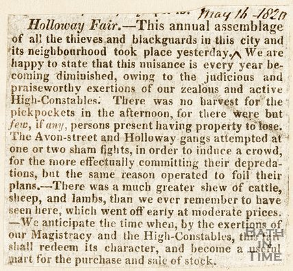Newspaper article. Reviewing the Holloway Fair, 1820.