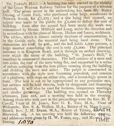 Newspaper article. St James Hall, 1870.