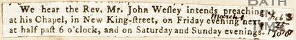 Newspaper article. John Wesley and Beau Nash, 1861
