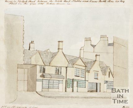 Houses in Westgate Street between the White Hart stables and Cross Bath Lane, 1835