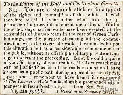 A letter to the editor complaining of the erection of a barrier walls at the rear of Green Park Buildings, 1822.