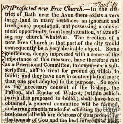 Newspaper article. Projecting new Free Church, 1817.