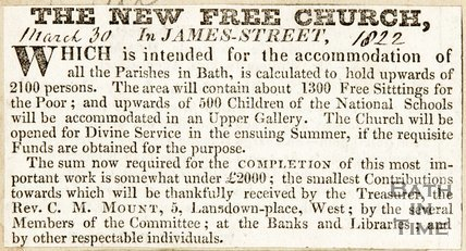 Newspaper article calling for donations for the Trinity Church, 1822.