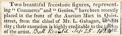 Newspaper article announcing the completion of two stone figures placed in front of the auction mart in Quiet Street, 1824.