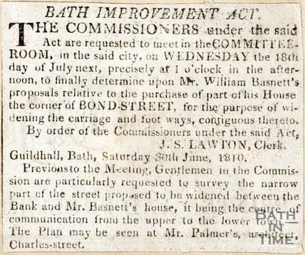 Newspaper article about the Bath Improvement Act. June 1810.
