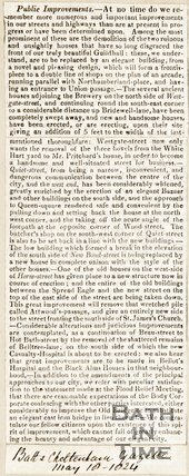 Newspaper article detailing public improvements, 1824.