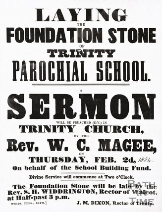 Poster announcing the laying of the foundation stone of Trinity School, 1854.