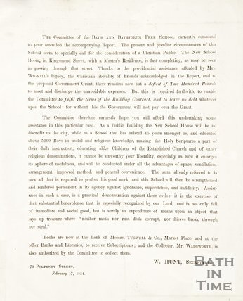A notice asking for donations to complete the Bath and Bathforum Free School, 1854.