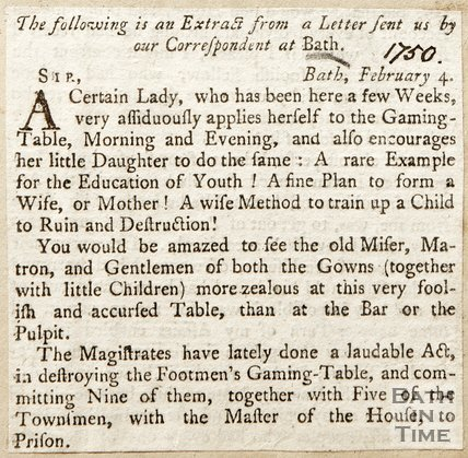 Extract from a letter complaining of a particular lady who gambles too much, 1750.