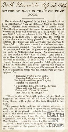 Newspaper article concerning the statue of Beau Nash in the Bath Pump Rooms