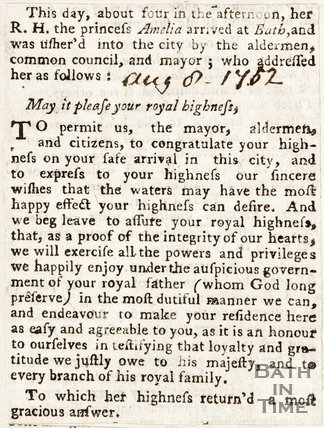 Newspaper article announcing the arrival of Princess Amelia at Bath, 1782.