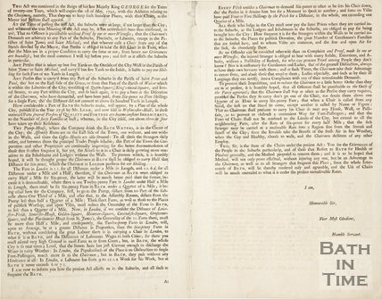 Pamphlet concerning an Act amending the roads going in and out the city of Bath, 1738 - verso