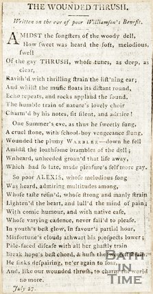Newspaper article containing a poem entitled The Wounded Thrush.