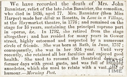 Newspaper article concerning the obituary of Mrs John Bannister.