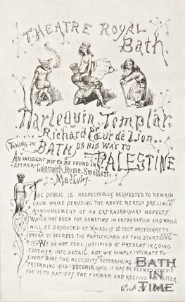 Poster advertising the Harlequin Templar at the Theatre Royal Bath, 1850.
