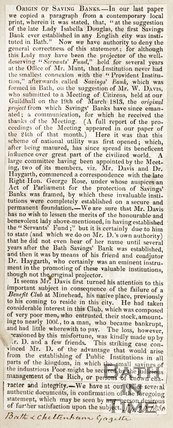 Newspaper article. Details banks in Bath, 1830.