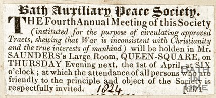 Newspaper article Bath Auxiliary Peace Society.1824.