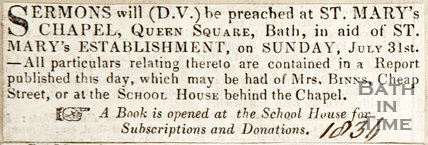 Newspaper article announcing sermons will be preached at St Marys Chapel, Queens Square, Bath, 1836