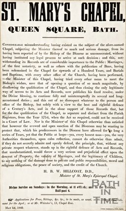 A notice by St Marys Chapel, Queen Square detailing consecration, 1849.