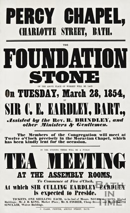 Poster for Percy Chapel announcing the laying of the foundation stone in Charlotte Street, Bath, 1854.