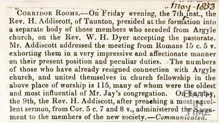Newspaper article concerning the Rev. W. H. Dyer and the Argyle Chapel, 1853.