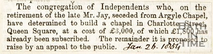 Newspaper article concerning a new chapel on Charlotte Street, Bath 1854
