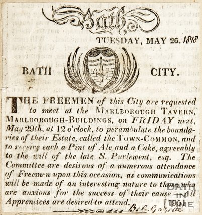 Newspaper article announcing a meeting of the Freemen of Bath 1818