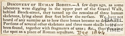 Newspaper article concerning the discovery of human skeletons, 1844