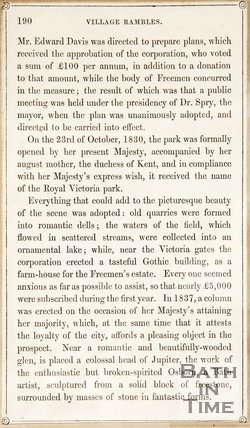A page from Rambles about Bath and its Neighbourhood, p.190, discussing Royal Victoria Park, 1847