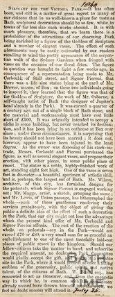 Newspaper article concerning the attractions of the Royal Victoria Park, 1860.