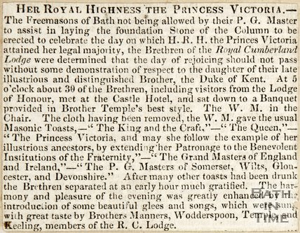 Newspaper article entitled 'Royal Highness the Princess Victoria', 1837?