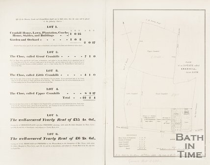 Plan of the estate Cranhill of Bath, 1852.