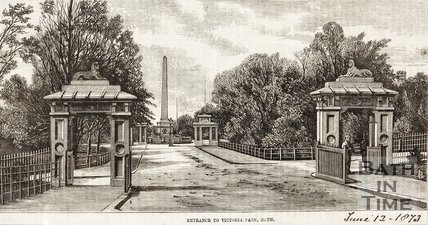 Entrance to Victoria Park, Bath, 1873.
