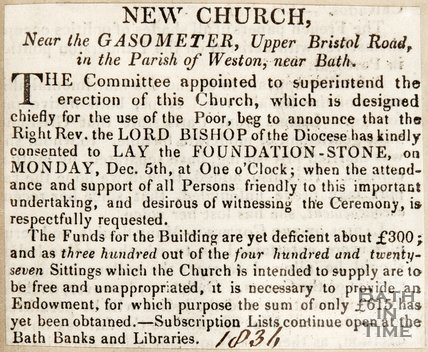 Newspaper article concerning a new church in the parish of Weston, near Bath, 1836