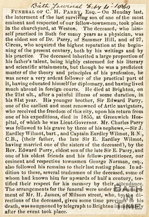 Newspaper article announcing the funeral of C. H Parry Esq. including obituary, 1860.
