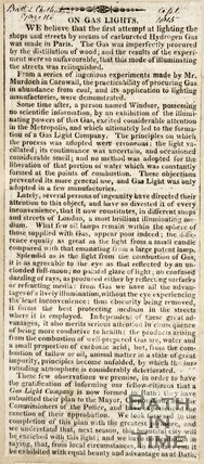 Gas lighting company to be formed in Bath, 1815.