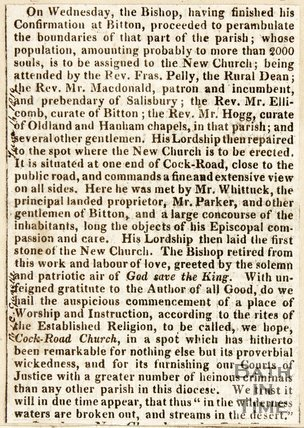 Newspaper article describing the consecration at Bitton Church, 1819.