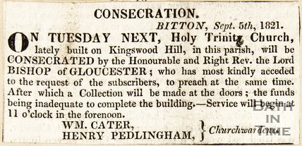 Newspaper article announcing the consecration of the Holy Trinity Church, Bitton, September 5th, 1821.