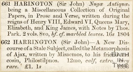 Auction listings of some of Sir John Harington's books