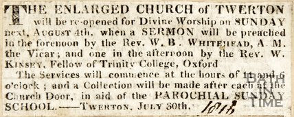 Newspaper article announcing the reopening of the enlarged Twerton Church. 1816.