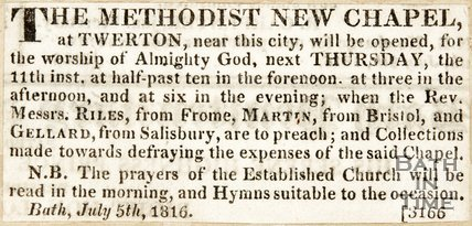 Newspaper article announcing the opening of the new Methodist Church, Twerton. 1816.
