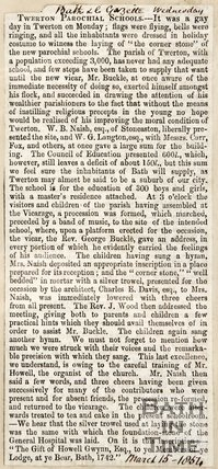 Newspaper article. 'Twerton Parochial Schools' 1854.