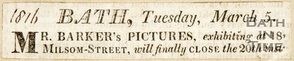 Newspaper article announcing that the exhibition of Mr Barker's paintings will close. 1816.