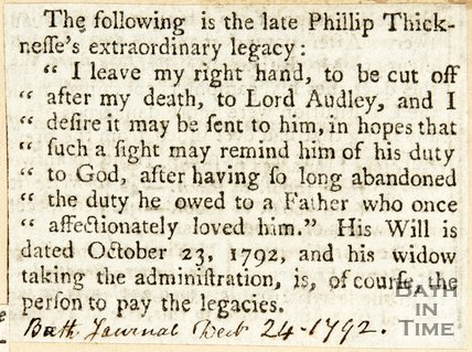 Newspaper article noting the will of Mr Philip Thicknesse. 1792.